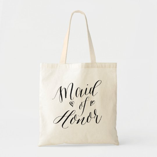 Modern Calligraphy Wedding Party Maid of Honour Tote
