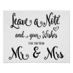 Modern Calligraphy Wedding sign leave a note print
