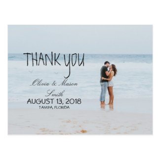 Modern Calligraphy Wedding Thank You Cards Black