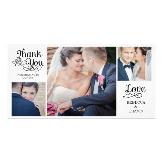 Modern Calligraphy Wedding Thank You Cards Black Photo Card