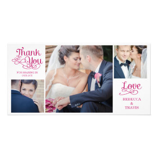Modern Calligraphy Wedding Thank You Cards Fuchsia Picture Card