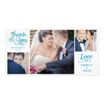 Modern Calligraphy Wedding Thank You Cards Green Personalised Photo Card