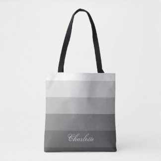 Modern Calm Gradient Gray Stripes Custom Name Tote Bag