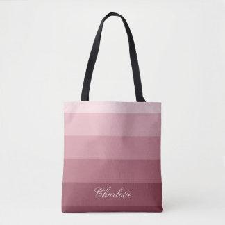 Modern Calm Gradient Rose Red Stripes Custom Name Tote Bag