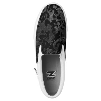 Modern Camo -Black and Dark Grey- camouflage Slip-On Shoes