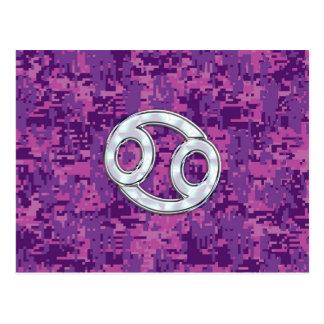 Modern Cancer Zodiac Sign Pink Digital Camouflage Postcard