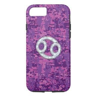 Modern Cancer Zodiac Symbol on Pink Digital Camo iPhone 7 Case