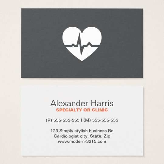 Modern cardiologist cardiology heart elegant grey business card
