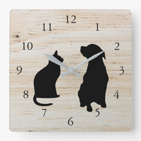 Modern cat dog silhouettes pets wooden background square