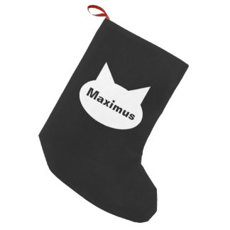 Modern Cat Personalized Pet Stocking - B&W/Red