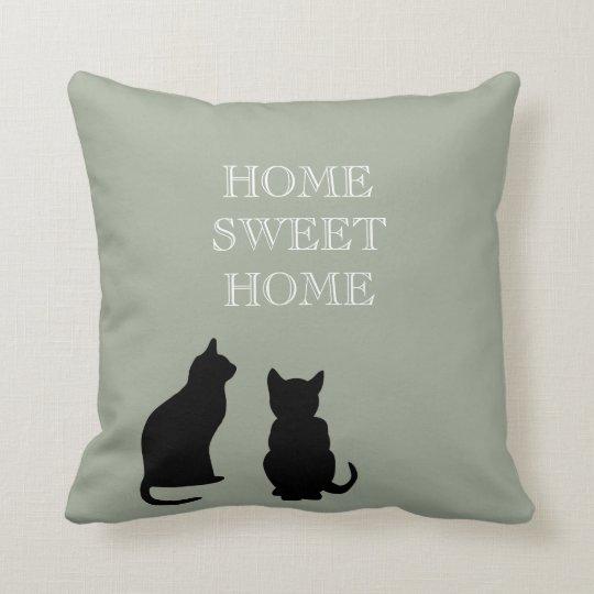 Modern cats illustration green Home Sweet Cushion