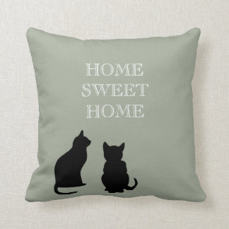 Modern cats illustration green Home Sweet Throw Pillow