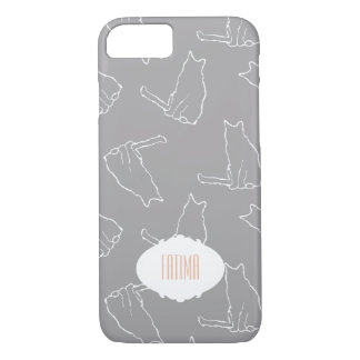 Modern Cats in Gray with Name iPhone 8/7 Case
