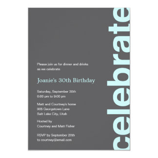 Modern Celebration Party Invitation - Turquoise