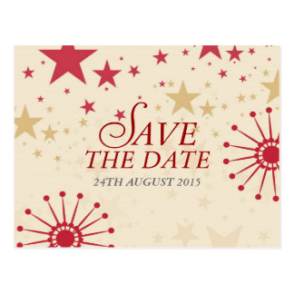Modern Celebration Stars Save the Date Postcard
