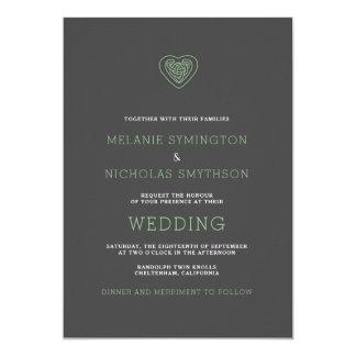 Modern Celtic Heart Irish Wedding Invite, 3981 Card