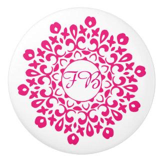 Modern Cerise Pink Floral Motif Personalized Ceramic Knob