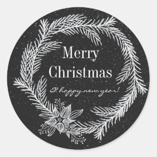Modern Chalk Snowy Wreath Holiday Classic Round Sticker