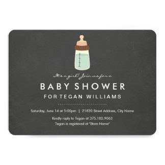 Modern Chalkboard & Bottle Baby Shower Invitation
