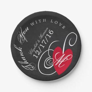 Modern Chalkboard Fancy Heart Wedding Paper Plate