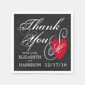 Modern Chalkboard Fancy Heart Wedding Paper Serviettes