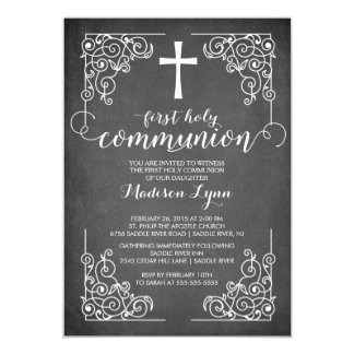 Modern Chalkboard First Holy Communion Invitation