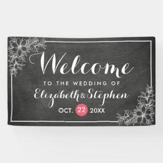 Modern Chalkboard Floral Frame Wedding Welcome Banner