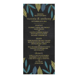 Modern Chalkboard Foliage Wedding Menu