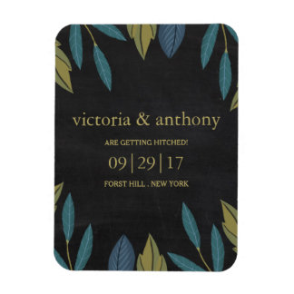 Modern Chalkboard Foliage Wedding Save The Date Magnet