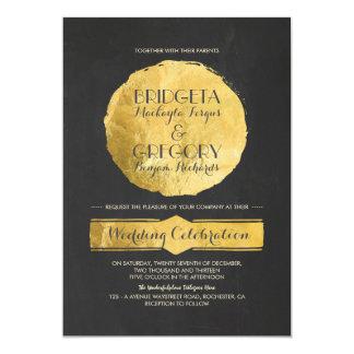 Modern Chalkboard Gold Foil Wedding Invitation