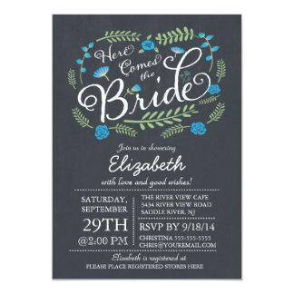 Modern Chalkboard Here Comes The Bride Floral 13 Cm X 18 Cm Invitation Card