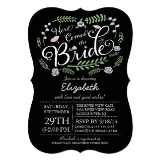 """Modern Chalkboard Here Comes The Bride Floral 5"""" X 7"""" Invitation Card"""