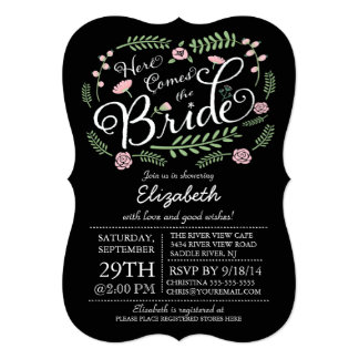 Modern Chalkboard Here Comes The Bride Floral 5x7 Paper Invitation Card