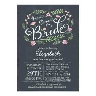 Modern Chalkboard Here Comes The Bride Floral 13 Cm X 18 Cm Invitation Card