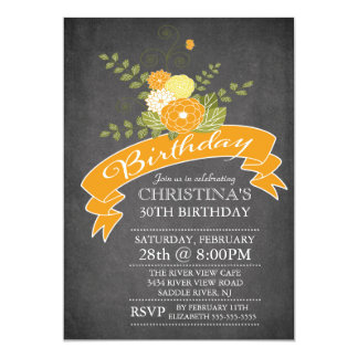 Modern Chalkboard Orange Flowers Birthday Party 13 Cm X 18 Cm Invitation Card