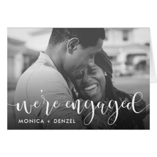 Modern Chalkboard & Script Engagement Party Photo Card