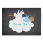 Modern Chalkboard Stork Baby Shower Thank You Note Card