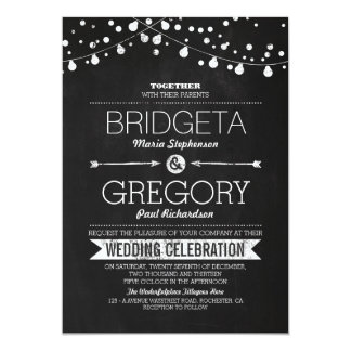 Modern Chalkboard String Lights Wedding Invitation