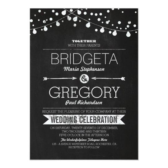 Modern Chalkboard String Lights Wedding Invitation