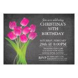 Modern Chalkboard Typographic Tulip Birthday Party Invites