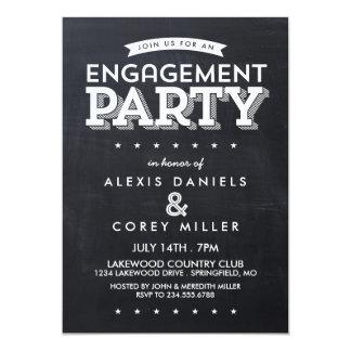 Modern Chalkboard Typography Engagement Party 13 Cm X 18 Cm Invitation Card