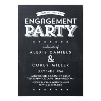 Modern Chalkboard Typography Engagement Party