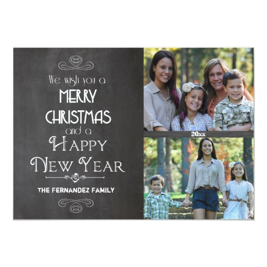 Modern Chalkboard Typography Flat Photo Card