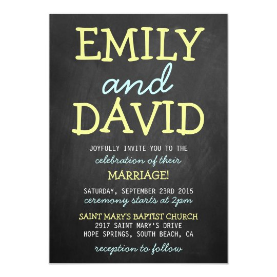 Modern Chalkboard Typography Wedding Invitations