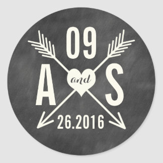 MODERN CHALKBOARD WEDDING CLASSIC ROUND STICKER
