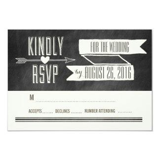 MODERN CHALKBOARD WEDDING RESPONSE CARD 9 CM X 13 CM INVITATION CARD