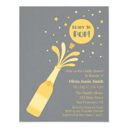 Modern Champagne Ready to Pop Baby Shower Card