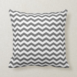 Modern Charcoal and White Chevron Throw Pillow