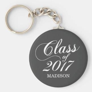 Modern Charcoal   Graduation Basic Round Button Key Ring