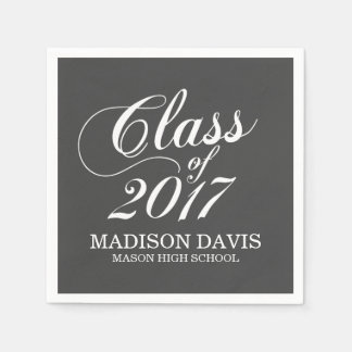 Modern Charcoal | Graduation Napkins Disposable Napkins